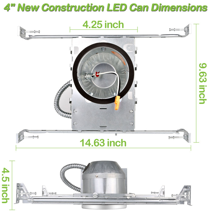 Hykolity 4 Inch New Construction Recessed Light Can Housing 12 Pack, Shallow Type Airtight IC Housing with TP24 Connector for LED Downlight Retrofit Kit,ETL Listed