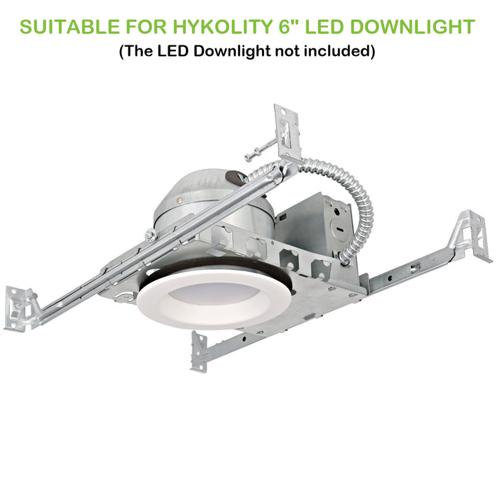 Hykolity 6 Inch New Construction Recessed Light Can Housing 12 Pack, Shallow Type Airtight IC Housing with TP24 Connector for LED Downlight Retrofit Kit,ETL Listed