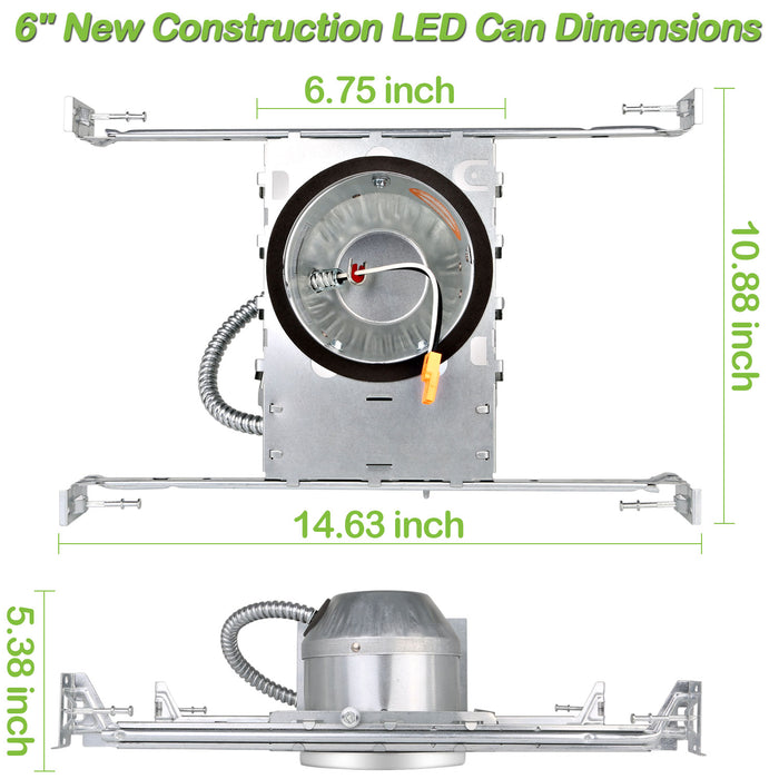 6 Inch New Construction Recessed Light Can Housing 12 Pack, Shallow Type Airtight IC Housing with TP24 Connector for LED Downlight Retrofit Kit,ETL Listed