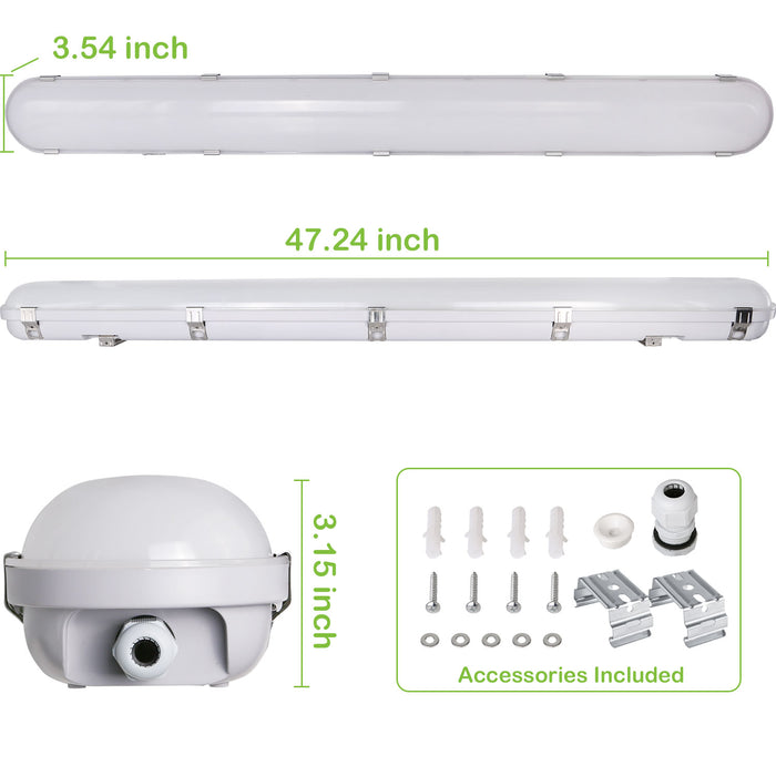 4FT 60W LED Vapor Tight Light Fixture, 6600 lm, 5000K, For Wet Location