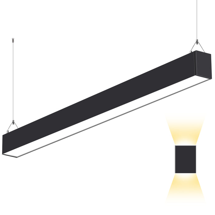 4FT 50W Indirect & Direct LED Architectural Linear Light For Office, 5500lm, 30K/40K/50K CCT Selectable, Black Finish