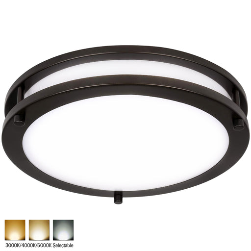 10 Inch LED Saturn Ceiling Light, 17W 1150lm, 3000K/4000K/5000K, Dimmable, Oil Rubbed Bronze Finish, Flush Mount