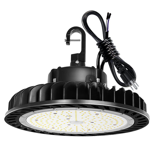 LED High Bay Light 200W 1-10V Dimmable 5000K 28,000lm UFO LED High Bay Light Fixture 5' Cable with US Plug [400W/750W MH/HPS Equiv.] Commercial Warehouse/Workshop/Wet Location Area Light