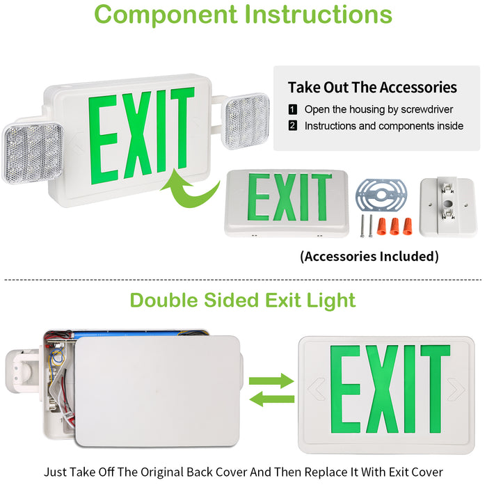 LED Emergency light combo, 2 heads, 100-277V, Universal Mounting, Green Letter with 90 Mins Battery Backup  2 Pack