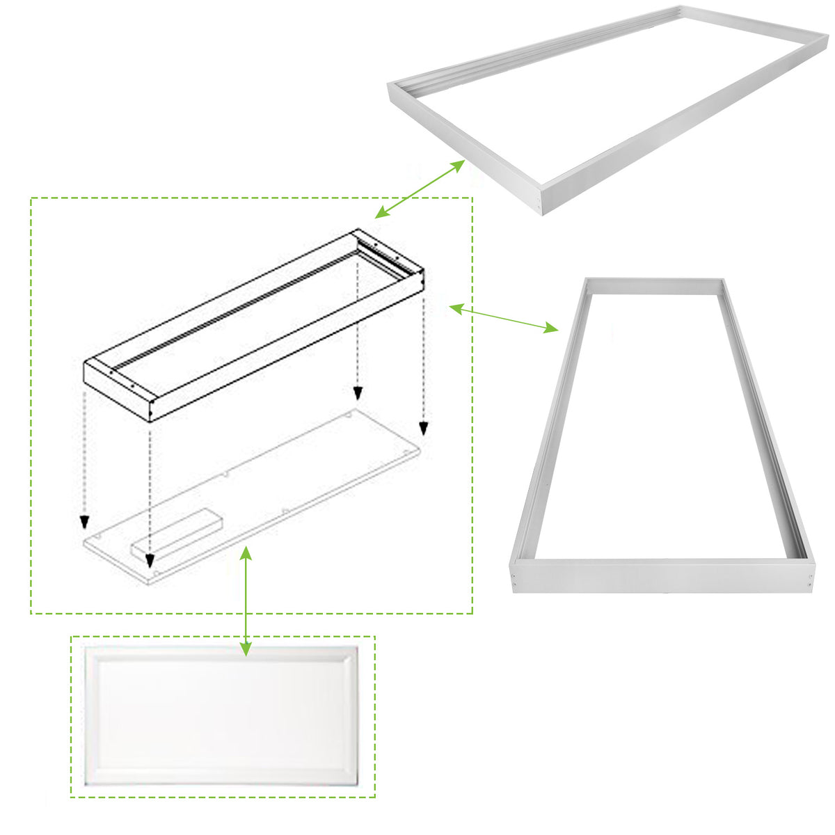 Surface Mount Kit For 2x4 Ft Led Troffer Flat Panel Drop