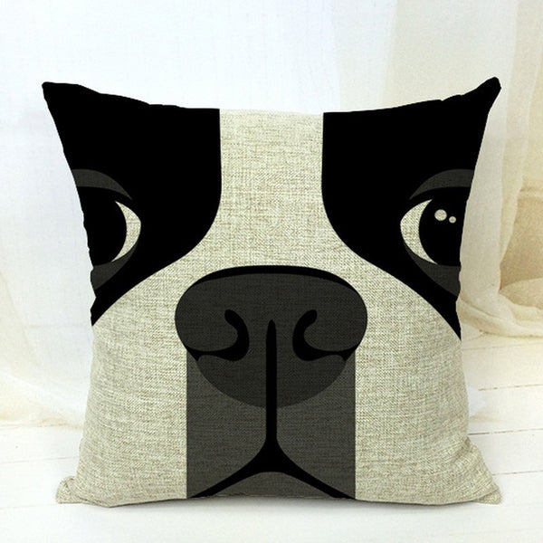 Boston Terrier Decorative Close-Up Pillow Case