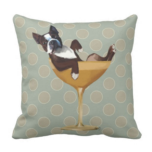 Boston Terrier Decorative Cocktail Pillow Case
