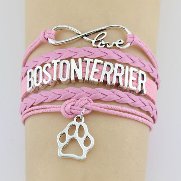 Boston Terrier Handmade Infinity Love Bracelet