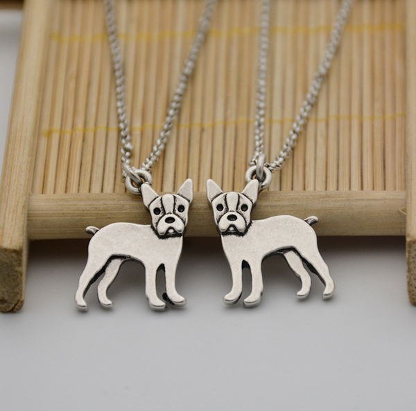 Boston Terrier Silver Necklace