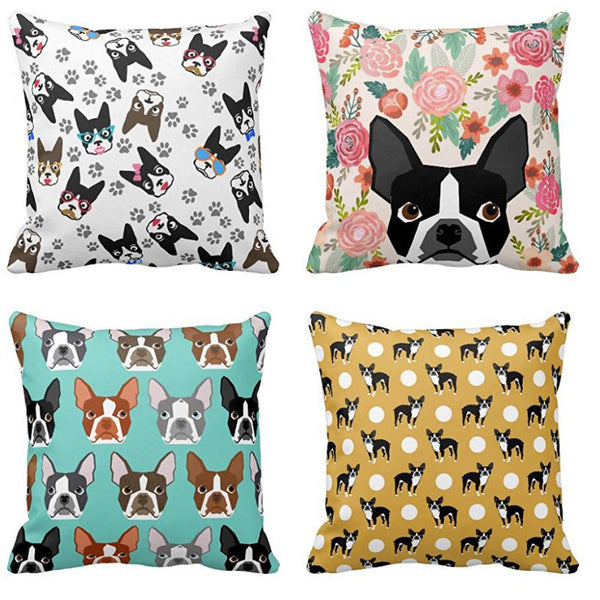 Boston Terrier Vintage Decorative Pillow Case