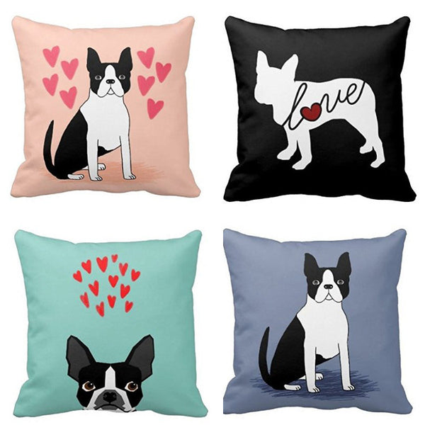 Boston Terrier Luxury Hearts Decorative Pillow Case