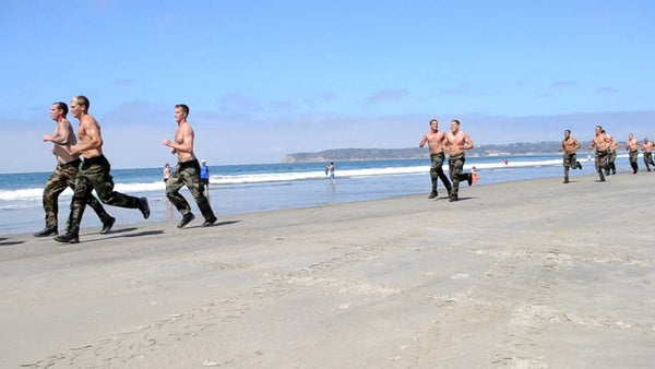 Navy SEALs Running On Coronado Beach During BUD/S