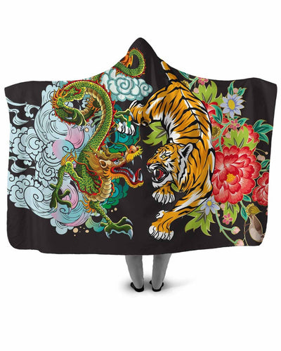 Tiger vs Dragon Hooded Blanket | All Over Shirts