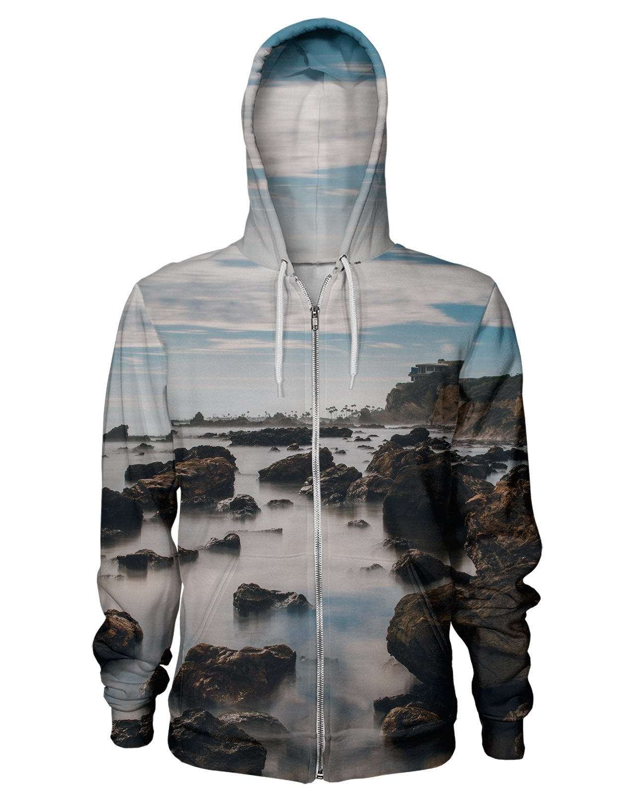 Corona Del Mar Long Exposure Portrait 2 Zip Hoodie