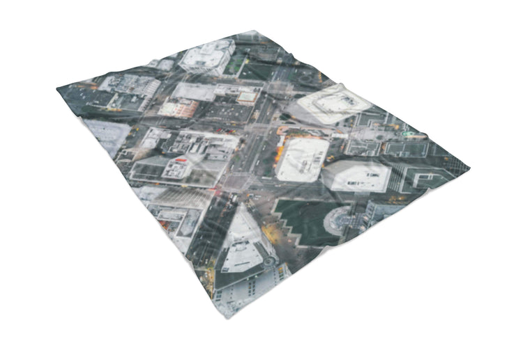 Oakland Streets From Above Fluffy Micro Fleece Throw Blanket