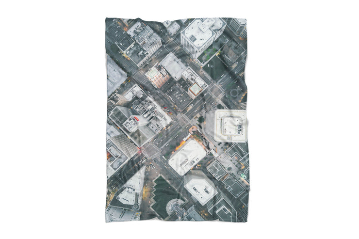 Oakland Streets From Above Fluffy Blanket