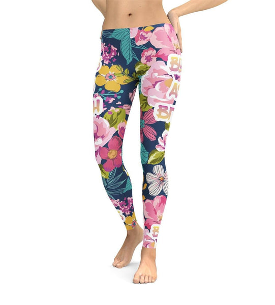 Bossy Flowers Leggings by All Over Shirts