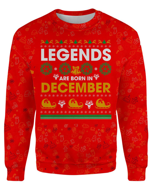 Born In December Red Ugly Sweater printed all over in HD on premium fabric. Handmade in California.