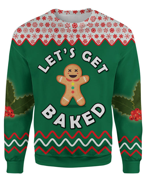 Get Baked Ugly Sweater printed all over in HD on premium fabric. Handmade in California.