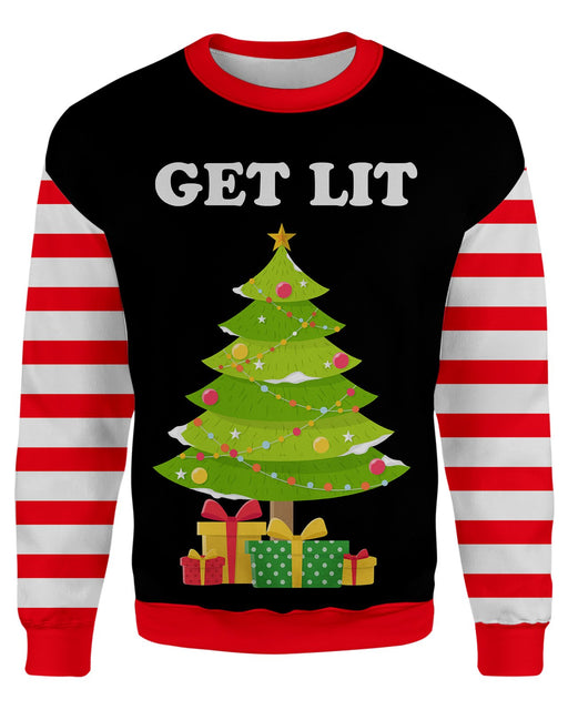 Get Lit Ugly Sweater printed all over in HD on premium fabric. Handmade in California.