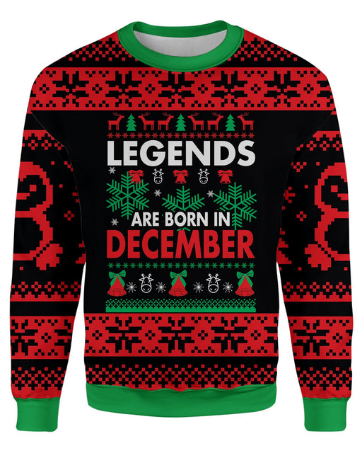 Legends Are Born In December Ugly Sweater printed all over in HD on premium fabric. Handmade in California.