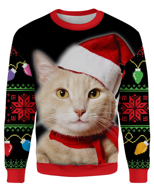 Meowy Christmas Ugly Sweater printed all over in HD on premium fabric. Handmade in California.