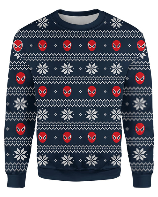Spiderman Ugly Christmas Sweatshirt printed all over in HD on premium fabric. Handmade in California.