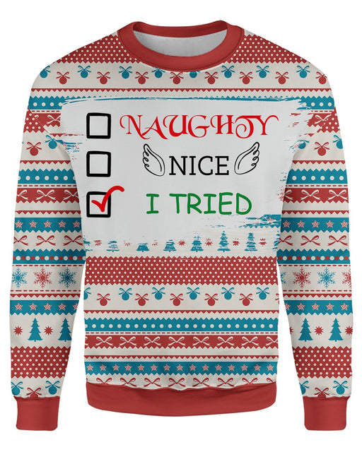 I Tried Ugly Sweater printed all over in HD on premium fabric. Handmade in California.