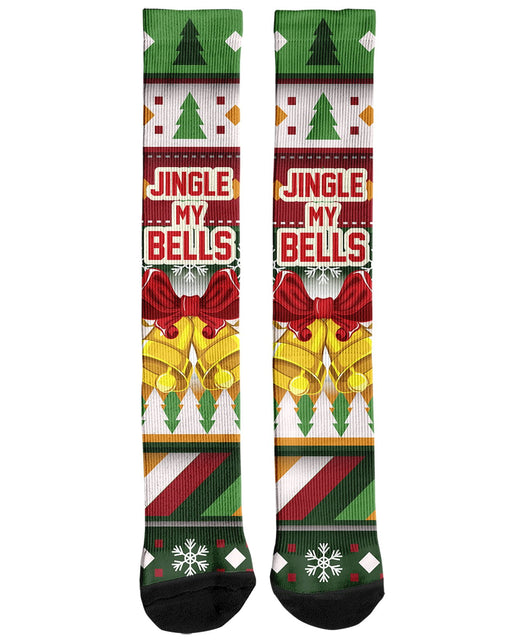 Jingle My Bells Knee Socks printed all over in HD on premium fabric. Handmade in California.