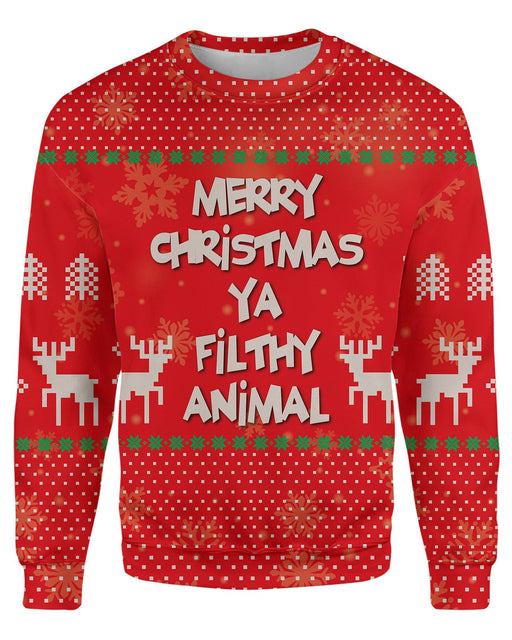 Merry Christmas Ya Filthy Animal Ugly Sweater printed all over in HD on premium fabric. Handmade in California.