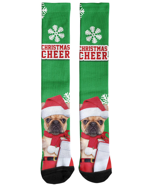 Christmas Cheer with Pug Knee Socks printed all over in HD on premium fabric. Handmade in California.