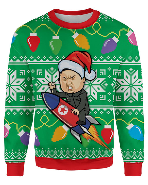 Donald Trump and Rocket Man Ugly Sweater printed all over in HD on premium fabric. Handmade in California.