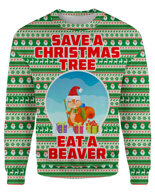 Eat A Beaver Ugly Sweater printed all over in HD on premium fabric. Handmade in California.