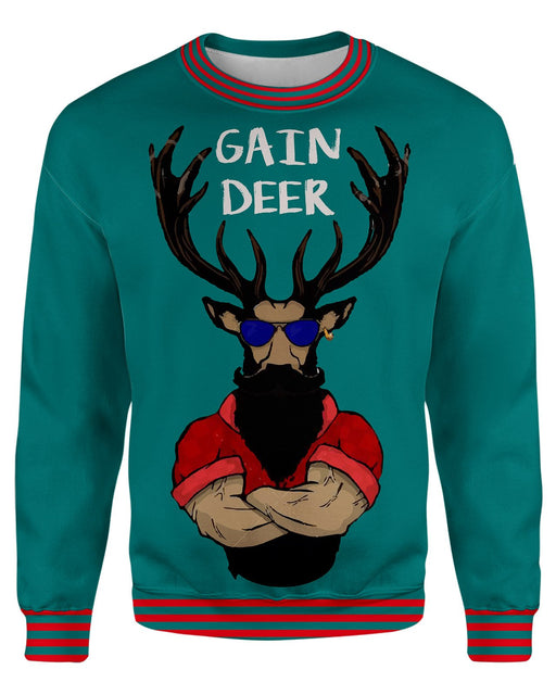 Gain Deer Ugly Sweater printed all over in HD on premium fabric. Handmade in California.