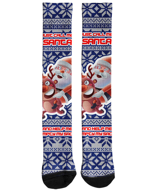 Just Call Me Santa Knee Socks printed all over in HD on premium fabric. Handmade in California.