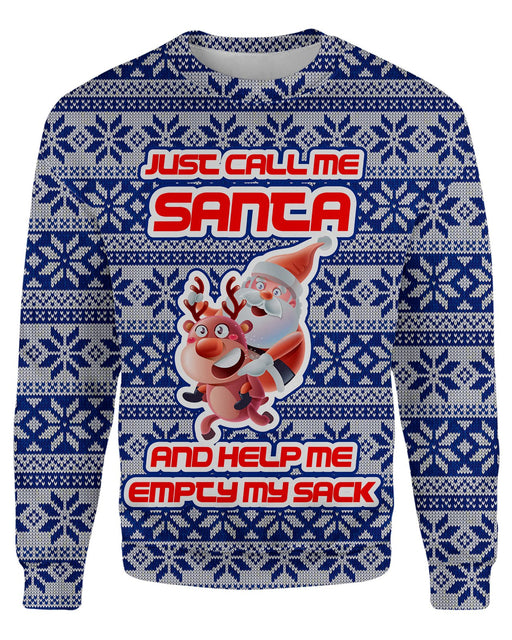 Just Call Me Santa Ugly Sweater printed all over in HD on premium fabric. Handmade in California.