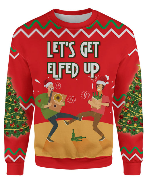 Lets Get Elfed Up Ugly Sweater printed all over in HD on premium fabric. Handmade in California.