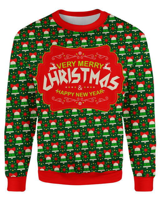 Merry Christmas and a Happy New Year Ugly Sweater printed all over in HD on premium fabric. Handmade in California.