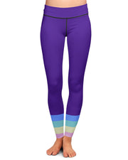Bottom Rainbow Stripes Yoga Leggings