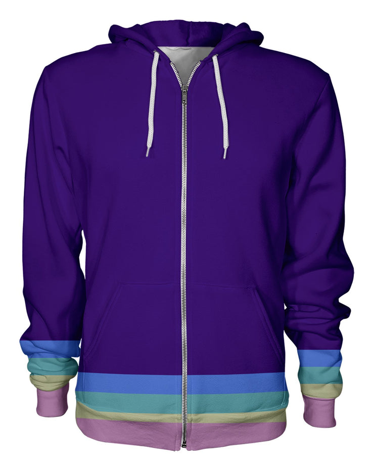 Bottom Rainbow Stripes Zip Hoodie