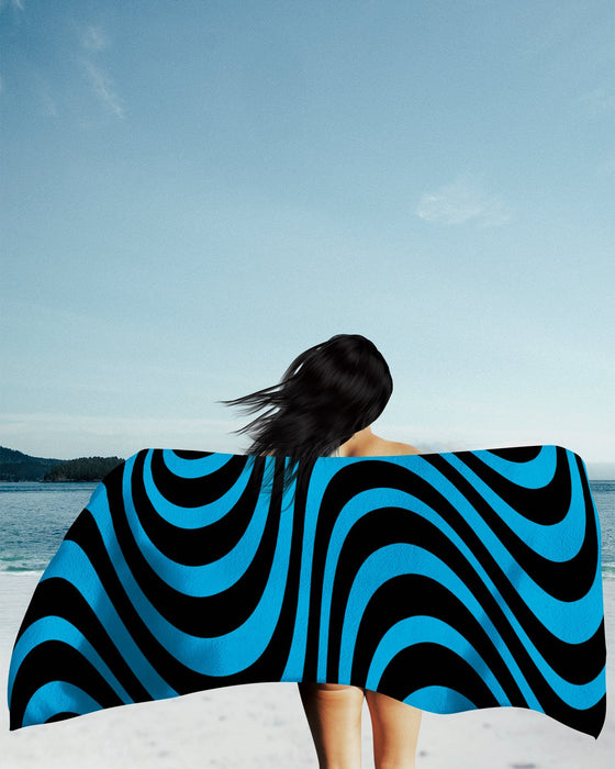 Wavy Lines Blue Beach Towel