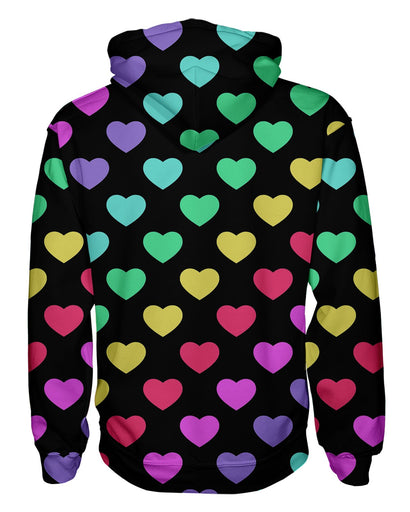 Rainbow Hearts Pullover Hoodie