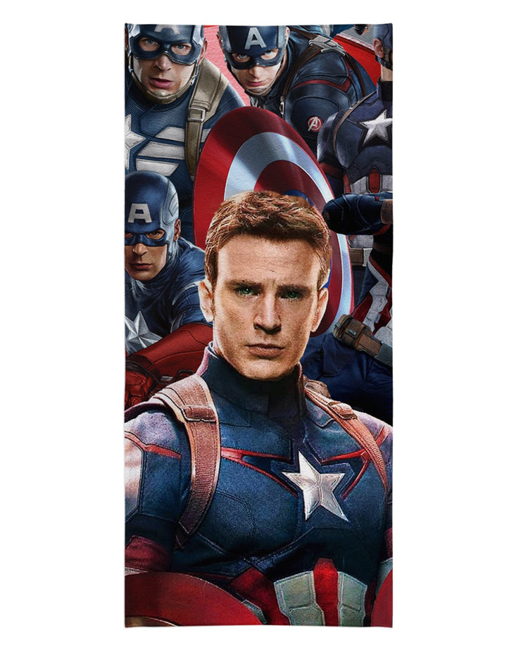 Captain America Face Beach Towel