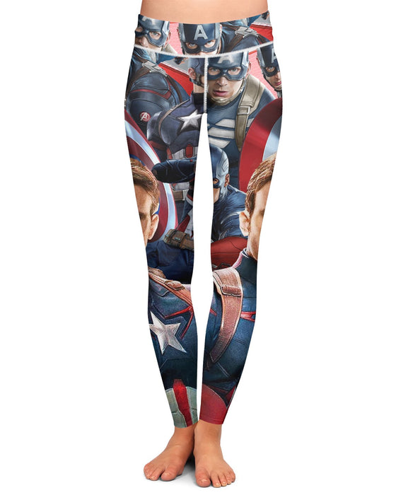 Captain America Face Yoga Leggings