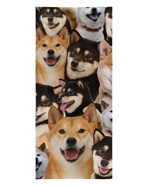 Shiba Inu printed all over in HD on premium fabric. Handmade in California.