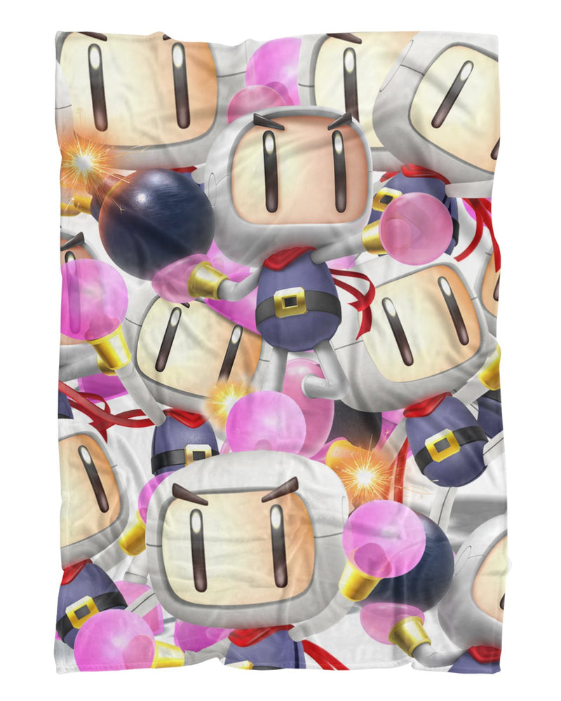 Bomberman Super Smash Bros printed all over in HD on premium fabric. Handmade in California.