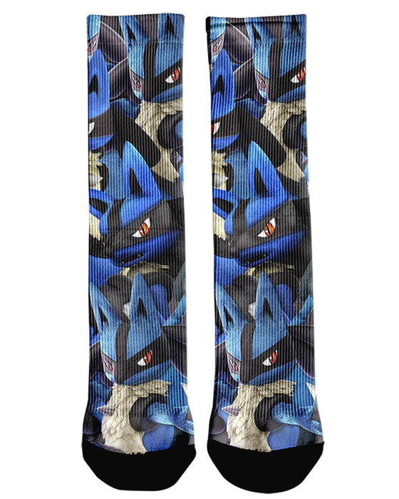 Lucario Super Smash Bros printed all over in HD on premium fabric. Handmade in California.