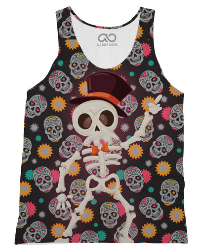 Disco Skeleton printed all over in HD on premium fabric. Handmade in California.