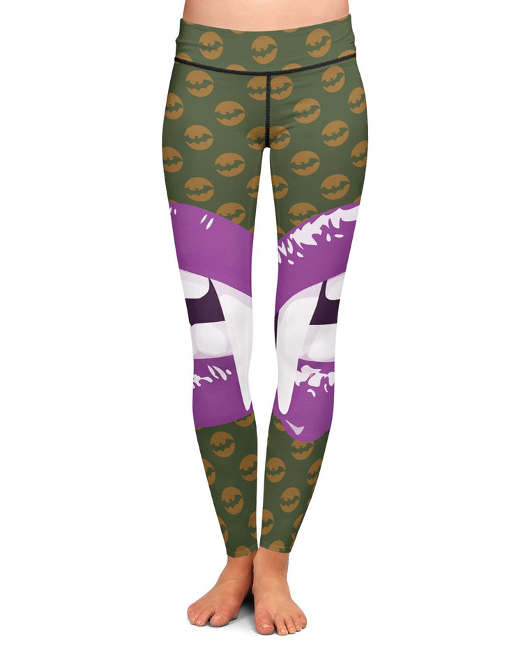 Purple Vampire Lips Yoga Leggings
