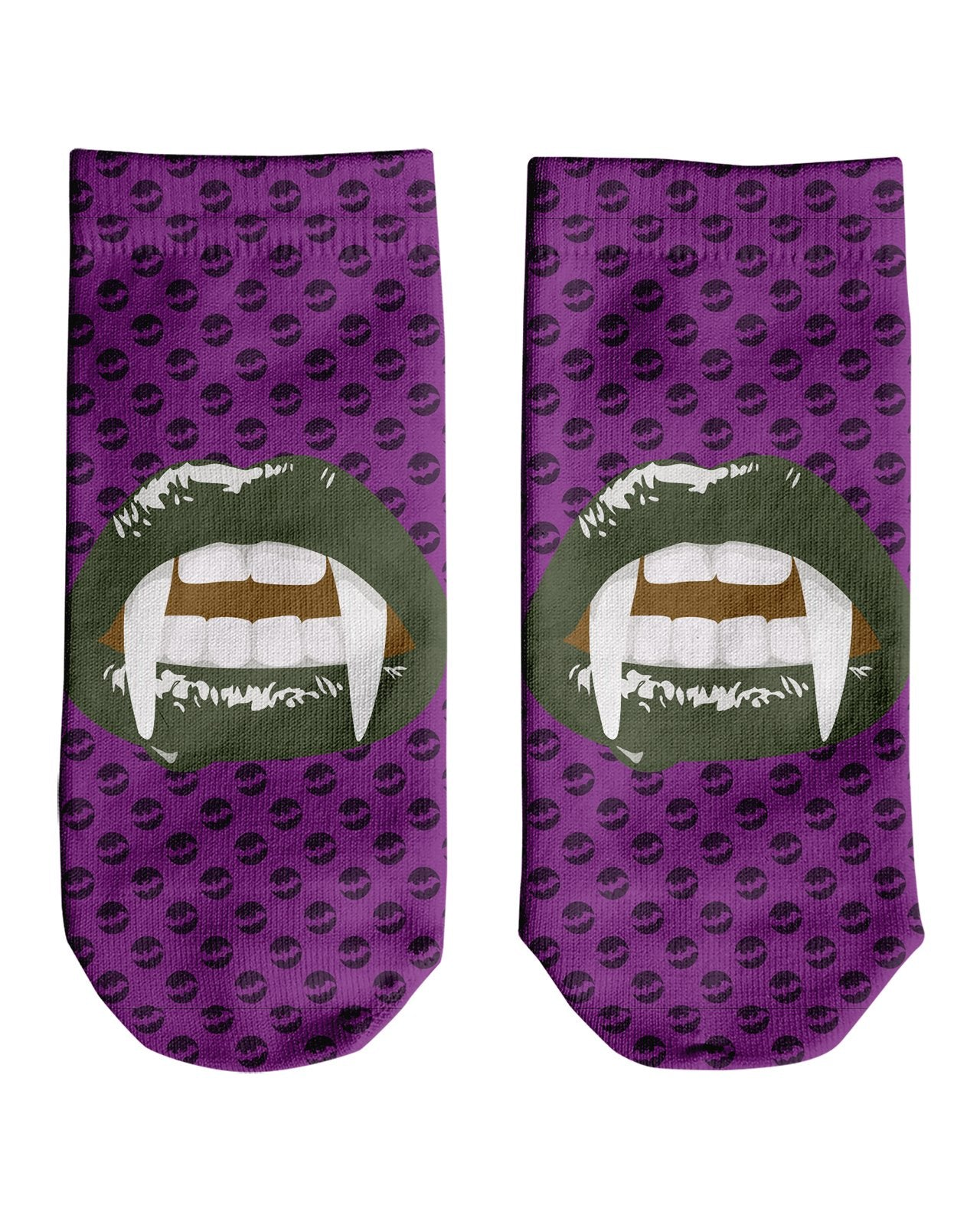 Green Vampire Lips Ankle Socks